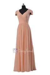 Long modest chiffon bridesmaid dress ice apricot party dresses w/cap sleeves (bm5192l)