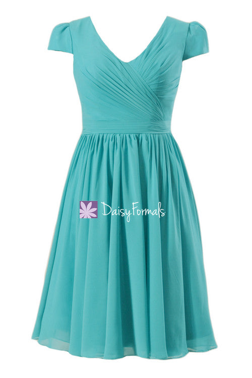 Turquoise bridesmaids dress inexpensive modest bridesmaid dress party dress w/cap sleeves (bm5192s)