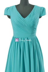 Turquoise Bridesmaids Dress Modest Bridesmaid Dress Party Dress w/cap sleeves (BM5192S)