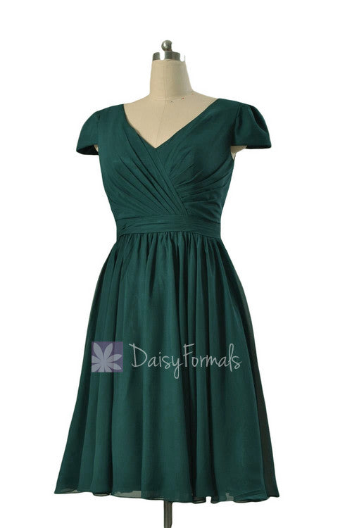 Plus size short chiffon bridal party dress rich peacock formal bridesmaid dress w/cap sleeves(bm5192s)