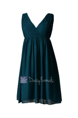 Empire peacock teal chiffon bridal party dress short v-neck dark teal bridesmaid dresses(bm5193s)