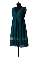 Empire peacock teal chiffon bridal party dress short v-neck dark teal bridesmaid dress(bm5193s)
