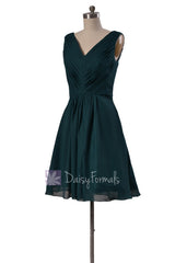 Delicate knee length rich peacock cheap chiffon bridesmaid dresses w/v-neck(bm5194s)