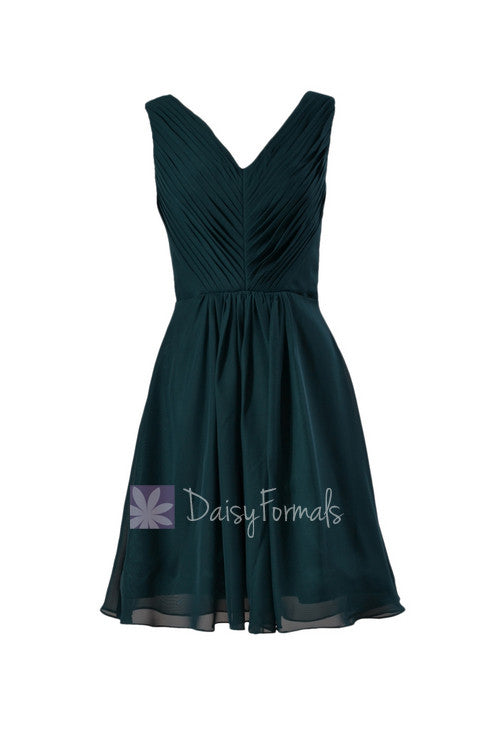 Delicate knee length rich peacock cheap chiffon bridesmaid dress w/v-neck(bm5194s)