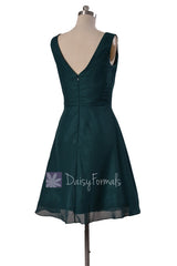 Delicate Knee Length Rich Peacock Chiffon Bridesmaid Dress W/V-Neck(BM5194S)