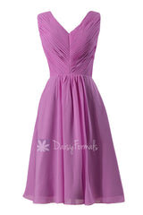 Beautiful wisteria chiffon formal dress short pleated discount bridesmaid dress w/v-neck(bm5194s)