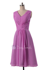 Beautiful wisteria chiffon formal dress short pleated discount bridesmaid dresses w/v-neck(bm5194s)