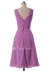 Beautiful Wisteria Chiffon Formal Dress Short Pleated Bridesmaid Dress W/V-Neck(BM5194S)
