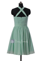 Fashion knee length mint chiffon bridesmaid dress pleated mint cheap formal dresses(bm5195alb)