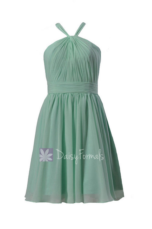 Fashion knee length mint chiffon bridesmaid dress pleated mint cheap formal dress(bm5195alb)