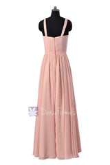 Long Chiffon Bridesmaid Dress Linen Bridal Party Dress W/Straps(BM5195L)