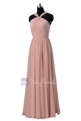 Long chiffon bridesmaid dress linen bridal party dresses w/straps(bm5195l)