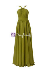 Bright olive chiffon formal evening gown bridesmaid dress long party gown (bm5195l)