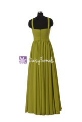 Bright olive chiffon formal evening gown bridesmaid dress long party gowns (bm5195l)