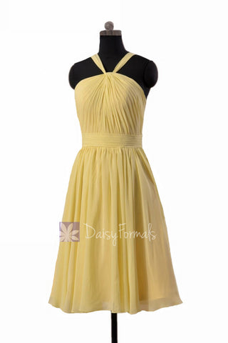 Appealing Knee Length Chiffon Bridesmaid Dress Light Yellow Party Dress(BM5195S)