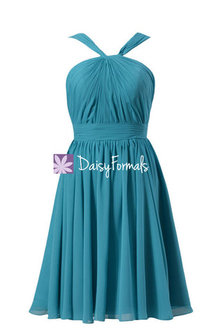 Knee Length Beach Wedding Party Dress Smoother Chiffon Formal Gown (BM5195S)