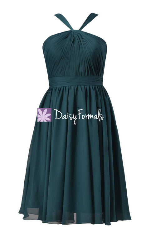Stunning rich peacock chiffon dress short teal party dress (bm5195s)