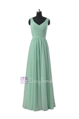 Floor length mint green chiffon bridal party dress v-neck online bridesmaid dress(bcd3975l)