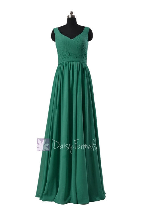 Jade green chiffon bridal party dress long v-neckline pleated elegant long formal dress(bm5196l)