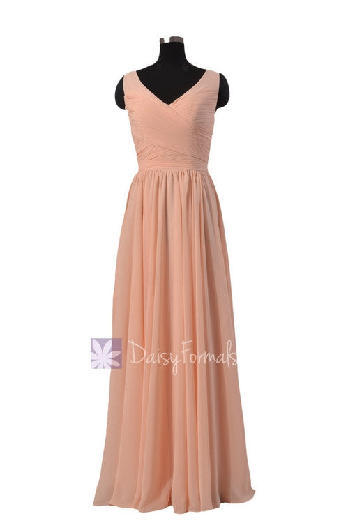 Qualty Nude Color Formal Bridesmaid Dress Floor Length Chiffon Party ...