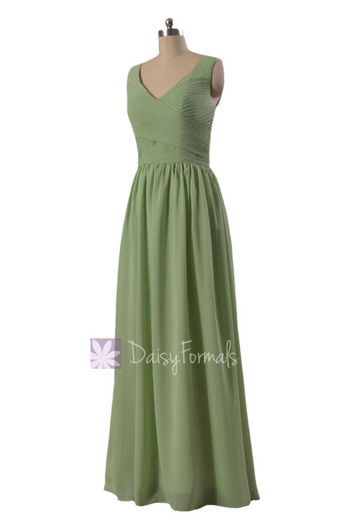 Graceful v-neck chiffon bridesmaid dress long green bridal party dress(bm5196l)