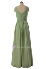Graceful v-neck chiffon bridesmaid dress long green bridal party dresses(bm5196l)