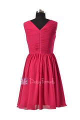 Modest knee length bridal party dress fuchsia v-neck discount formal dresses(bm5196m)