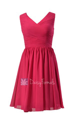 Modest knee length bridal party dress fuchsia v-neck discount formal dress(bm5196m)