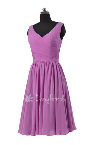 Appealing Short Deep V-Neckline Chiffon Bridesmaid Dress Wisteria Party Dress(BM5196S)