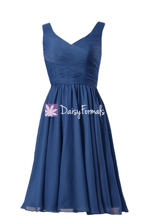 56a3ac6f5d7c Sophisticated Blue Chiffon Dress Short Prussian Blue Bridesmaid Dress Party  Dress(BM5196S) – DaisyFormals-Bridesmaid and Formal Dresses in 59+ Colors