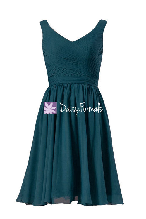 Rich peacock simple bridesmaid dress deep teal party dress w/straps cocktail dress (bm5196s)