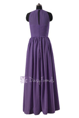 Dark plum elegant bridesmaid dress sleek illusion neckline vintage formal evening dresses (bm5197l)