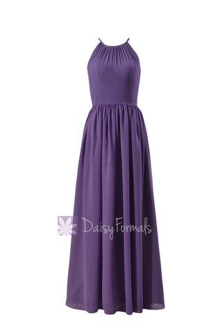 Appealing Pale Purple Chiffon Long  Bridesmaid Dress Formal Dress W/Illusion Neckline(BM5197L)