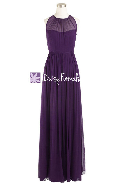 Dark plum elegant bridesmaid dress sleek illusion neckline vintage formal evening dress (bm5197l)