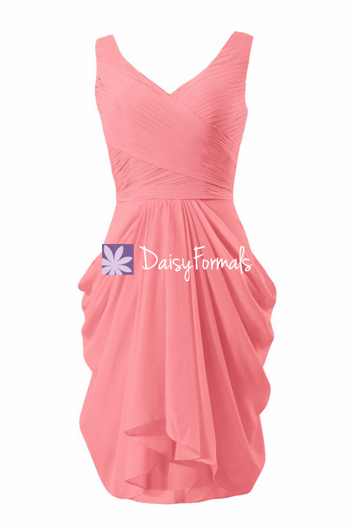 Floral Pleats Chiffon Party Dress Light Coral V Neckline Dress Bridesmaids Dress (BM5196A)