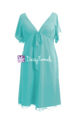 Light medium robin egg blue retro style special occasion dress party dress w/flutter sleeves (bm526t)