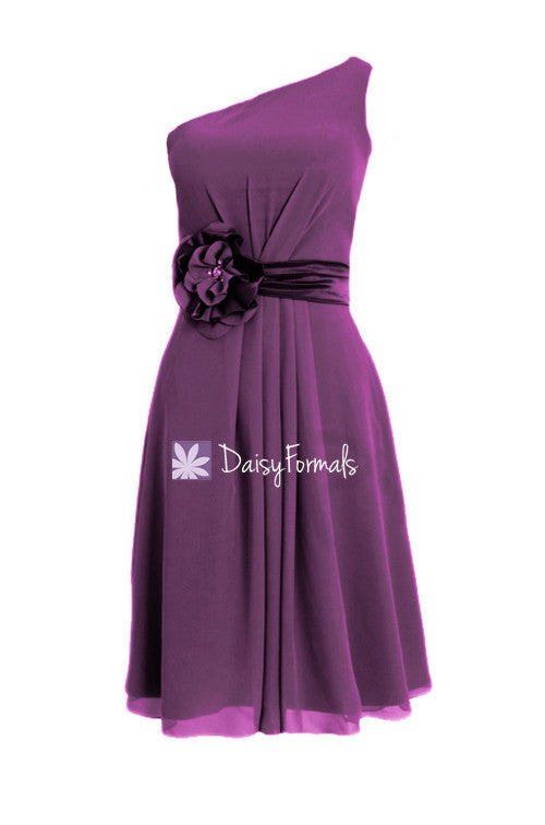 Sweet knee length affordable bridesmaids dress vintage dark plum chiffon party dress (bm5277)