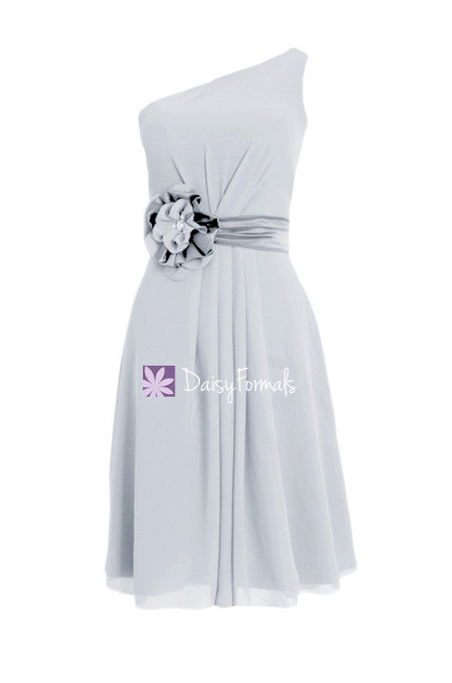 Custom silver chiffon evening dress short beach bridesmaids dress garden party dress (bm5277)
