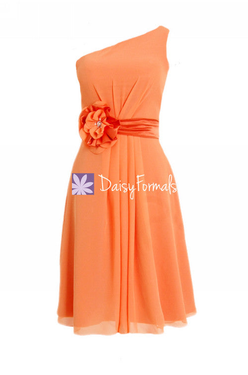 Orange chiffon one shoulder unique bridesmaids dress vintage cocktail party dress (bm5277)