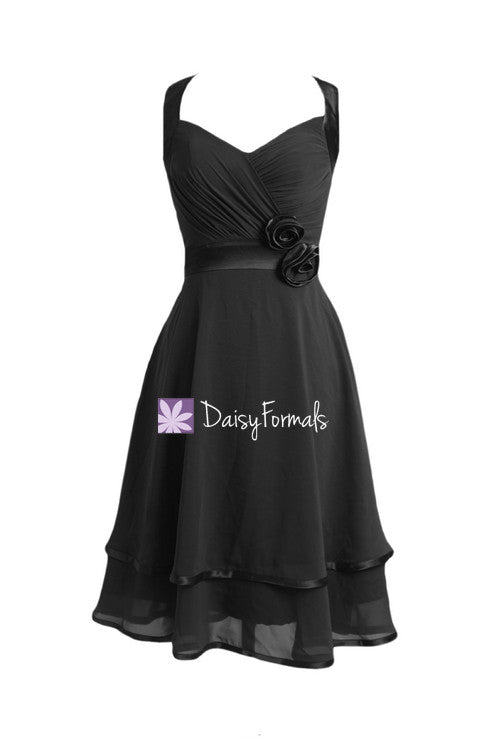 Halter black party dress full a line short black bridesmaids dresses (bm5281)