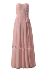 Strapless chiffon beach wedding party dress floor length pink bridesmaid dresses(bm550)