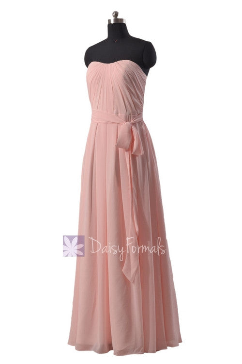 Strapless chiffon beach wedding party dress floor length pink bridesmaid dress(bm550)