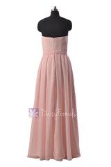 Strapless Chiffon Beach Wedding Dress Floor Length Pink Bridesmaid Dress(BM550)