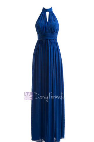 Charming Long High-Collar Sapphire Bridesmaid Dress W/Keyhole Front and Back(BM5742)