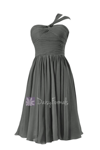 Chic Short Dark Gray Chiffon Party Dress One Shoulder Bridesmaid Dress(BM731S)