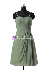 Xanadu short chiffon affordable bridesmaid dress prom dress w/spaghetti straps(bm732as)