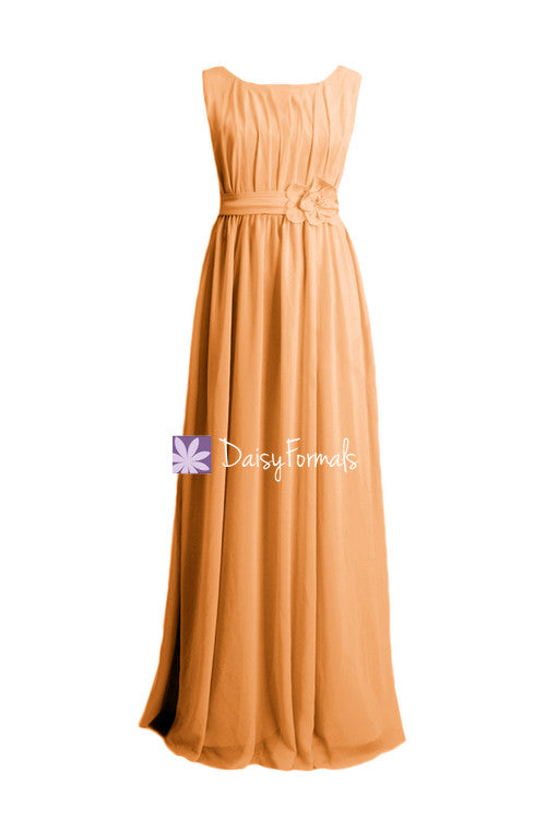 Modest mute orange chiffon party dress full length chiffon dress bridesmaids dress (bm628)
