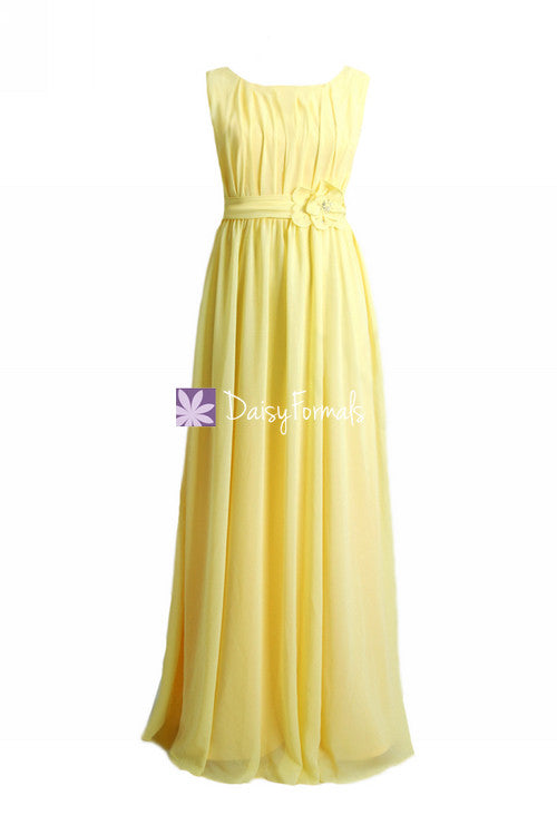 Banana junior bridesmaids dress long banana yellow modest junior bridesmaid dress (fl628)