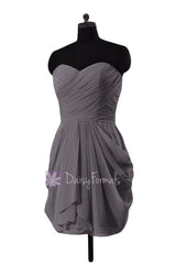 Slate gray chiffon mini skirt bridesmaid dress bridal party dress(bm643n)
