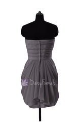 Slate gray chiffon mini skirt bridesmaid dress bridal party dresses(bm643n)